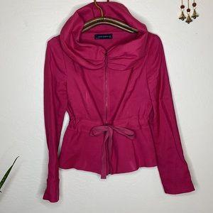 ZARA drawstring waist dramatic collar zip jacket